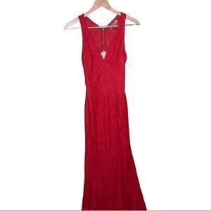 MANIJU Red Lace Mermaid Formal Dress Size Medium